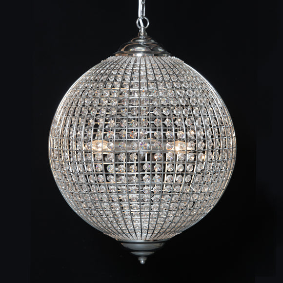 Chrome Metal Frame Globe Crystal Glass Chandelier 40 cm Diameter New