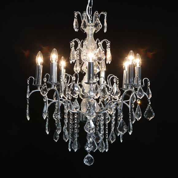 Lovely Eight Arm Chrome Frame Crystal Glass Chandelier 70 x 60 x 60 cm  NEW