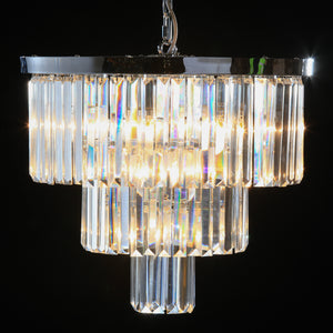 Large Round Chrome & Glass Crystal Prism Drop Cascade Chandelier 50 cm Diameter