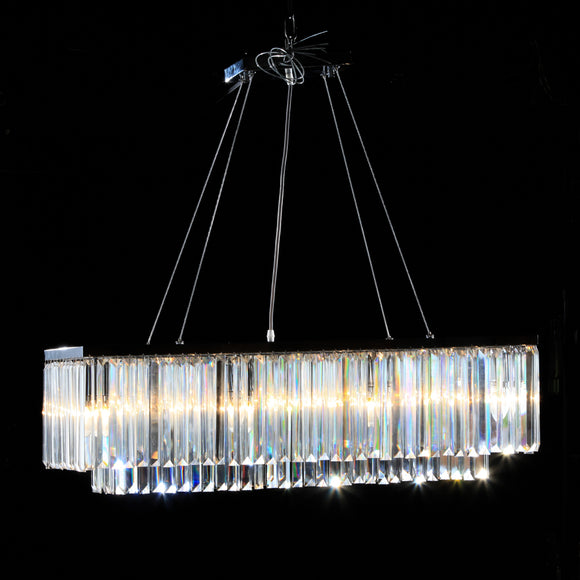 Large Chrome Prism Cascade Drop Rectangular Chandelier 28 x 90 x 30 cm