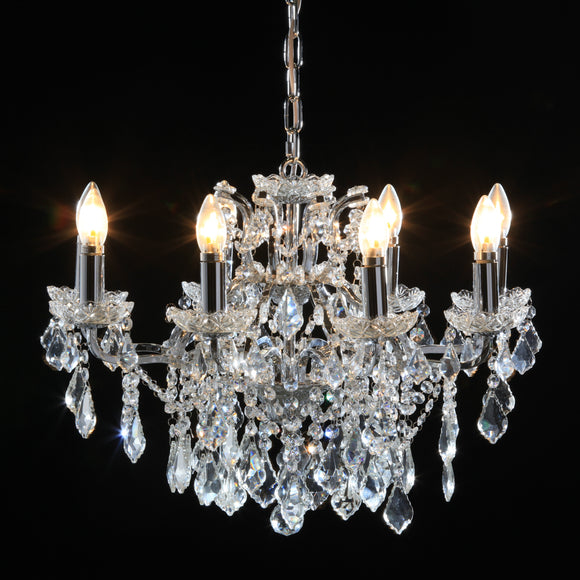 Shallow Eight Arm Chrome Crystal Chandelier