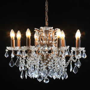 Shallow Eight Arm Brushed Gold Crystal Chandelier