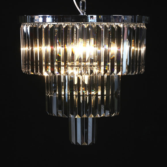 Large Round Chrome & Smoke Glass Crystal Prism Drop Cascade Chandelier 45 cm Diameter
