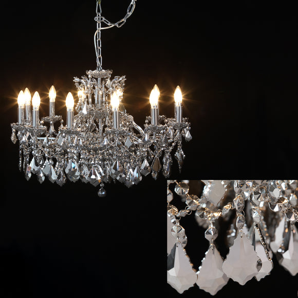 Shallow Twelve Arm Chrome Framed Chandelier With Mirror Glass Crystals 88 cm Diameter