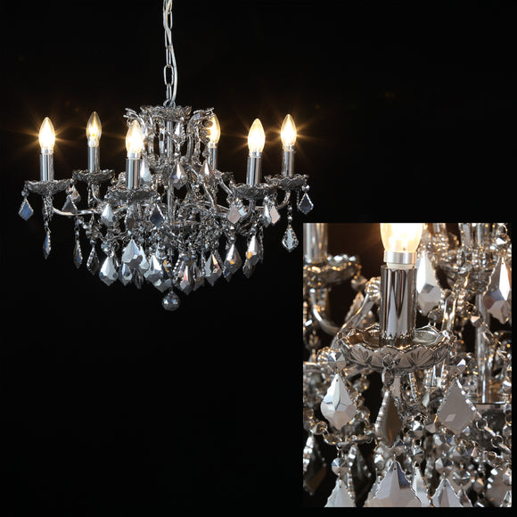 Six Arm Chrome Frame Mirror Crystal Glass Chandelier 64 cm Diameter x 48 cm High