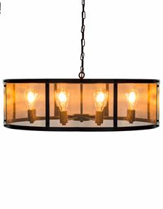 Very Large Eight Arm Round Industrial Iron Chandelier Gauze Shade 86 cm Wide x 25 cm High