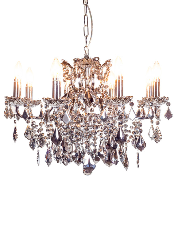 Shallow Eight Arm Chromed Crystal Glass Chandelier 64 cm Diameter