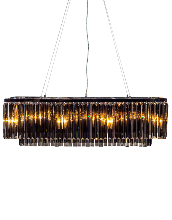 Large Chrome Prism Smoked Glass Crystals Cascade Drop Chandelier 28 x 90 x 30cm - Due April / May