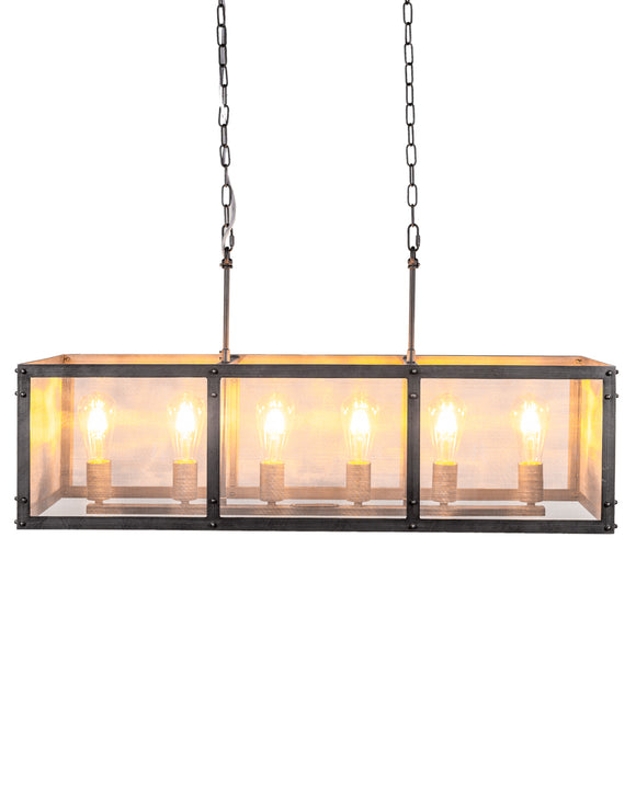Rectangular Iron Industrial Chandelier Metal Gauze Shade