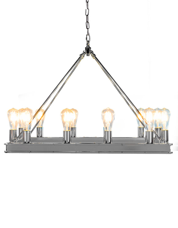 Large Chrome Rectangular Gallery Chandelier 58 x 80 x 40 cm