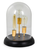 Glass Dome on Black Base 3 Light Bulb Table Lamp 40 cm High x 30 cm Diameter