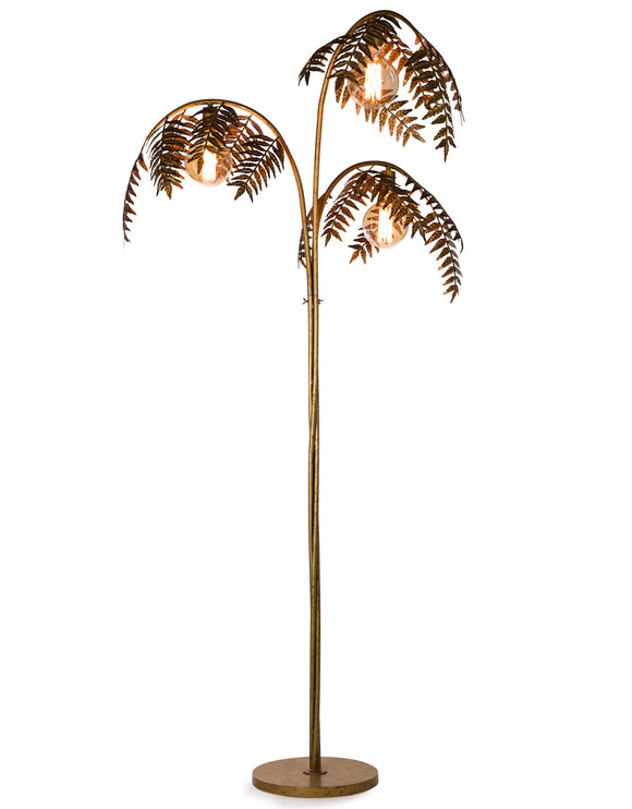 Large Antiqued Gold Metal Palm Tree Floor Lamp 186 cm High x 96 cm x 96 cm