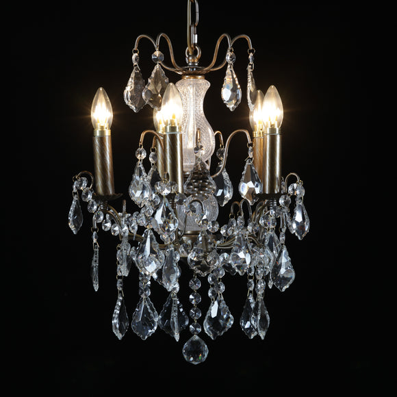 Five Arm Brushed Gold Metal Frame Crystal Glass Chandelier 40 cm Diameter x 60 cm High