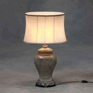 Large Champagne Crushed Glass Table Lamp with Silk Shade 76 cm High