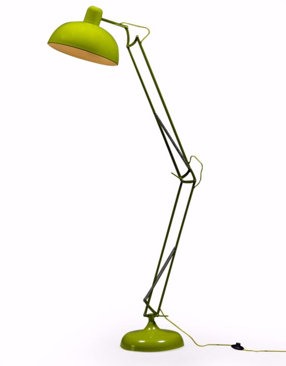 Large Stylish Lime Green Desk Floor Lamp With Yellow Fabric Flex 190 cm High