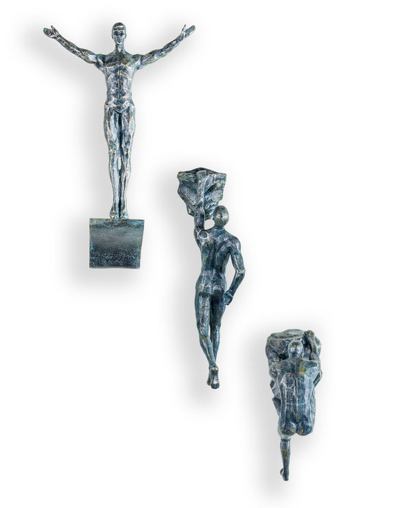 Set of 3 Large Antiqued Bronze Rock Climbing Men Wall Sculpture Figures Art
