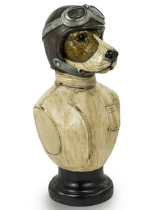 Vintage Style Racing Driver Dog Head Bust on Round Base 51.5 x 26.5 x 24 cm