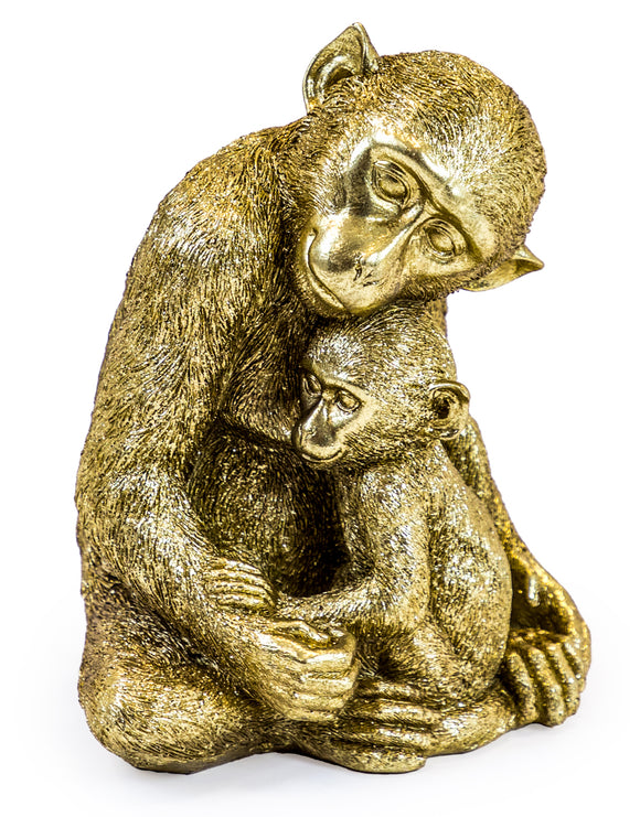 Antiqued Gold Monkey Mother & Baby Figure Statue 22.6 cm High