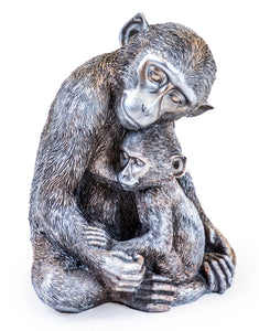 Antiqued Silver Monkey Mother & Baby Figure Statue 22.6 cm High