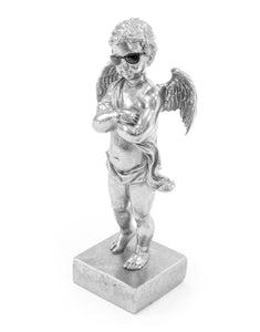 Silver Cool Dude Cupid Cherub on Integral Stand with Black Sunglasses 29 cm High