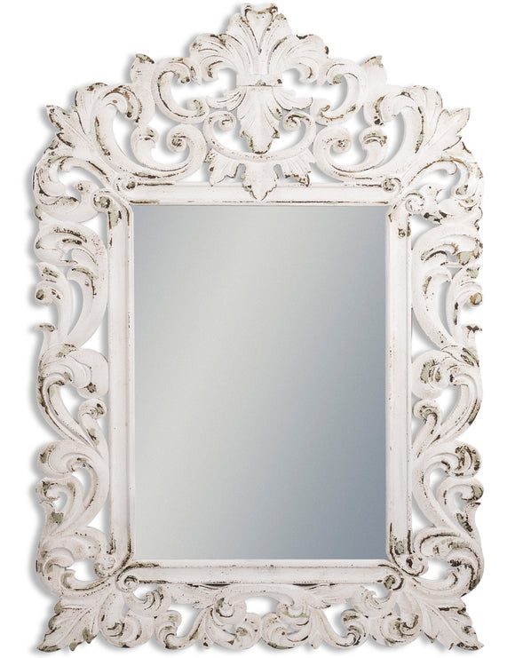 Large Rustic White Chantilly Wall Mirror 167 x 115 x 3 cm NEW