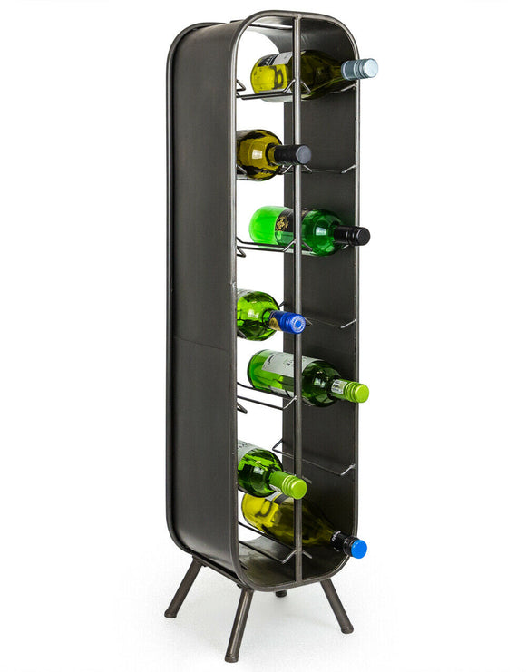 Industrial Style Grey Free Standing Metal 14 Bottle Wine Rack 99 cm High