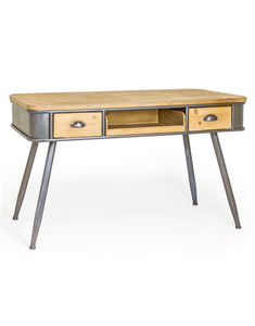 Industrial Style Metal Desk With Rustic Wooden Top and Drawers 76 x 121 x 57 cm