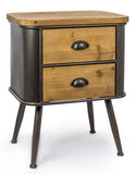 Industrial Style Metal & Wood Cabinet Chest of Two Drawers H 63 x W 51 x D 39 cm