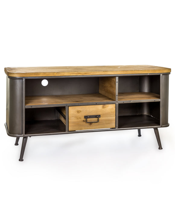 Industrial Style Metal & Wood Media Unit TV Entertainment Stand