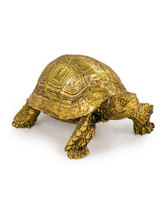 Gold Effect Tortoise Figure Statue 8 cm High x 12 cm Wide x 19 cm Long