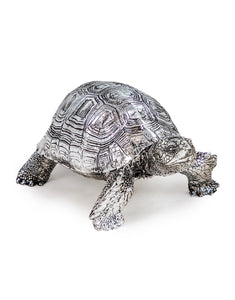Silver Effect Tortoise Figure Statue 8 cm High x 12 cm Wide x 19 cm Long