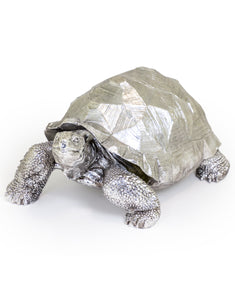 Extra Large Silver Effect Tequin the Tortoise Figure 40 cm High x 32 cm Wide x 60 cm Long