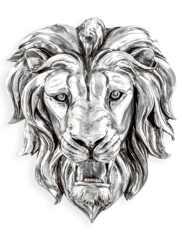 Large Silver Roaring Lion Head Wall Hanging - 48.5 cm High X 42.5 cm Wide X 24 cm Deep