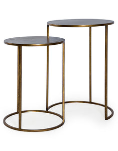 Set of Two Antiqued Gold Finish Metal Side Nest Tables