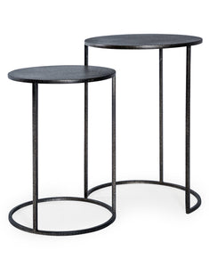 Set of Two Antiqued Pewter Grey Finish Metal Side Nest Tables