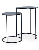 Set of Two Charcoal Black Finish Metal Side Nest Tables