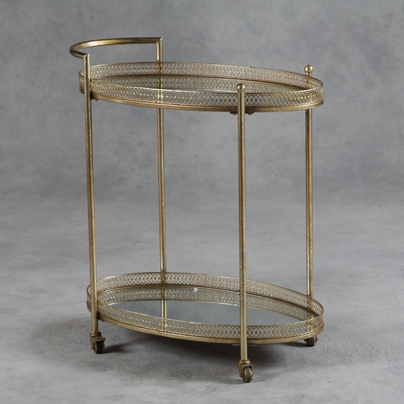 Antiqued Gold Serving  Tea Drinks Metal Trolley with Mirror Shelves 87 x 78 x 47 cm