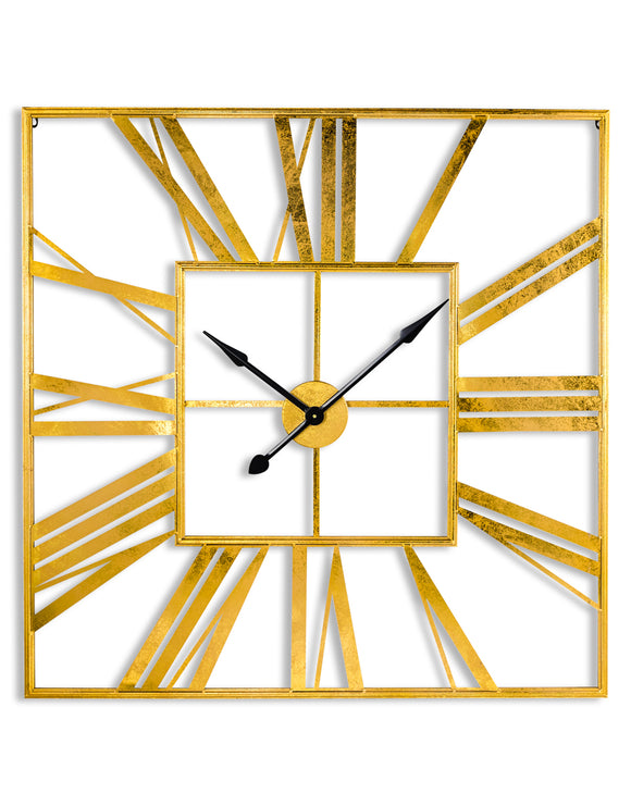 Extra Large Antiqued Gold Metal Square Skeleton Wall Clock 111 cm x 111 cm