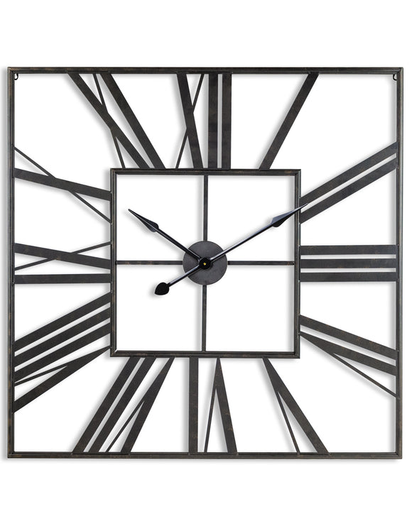 Extra Large Antiqued Black Metal Square Skeleton Wall Clock 111 cm x 111 cm