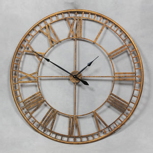 Extra Large Antiqued Gold Metal Round Skeleton Wall Clock 120 cm Diameter NEW