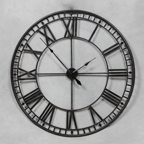 Extra Large Antique Black Metal Round Skeleton Wall Clock 120 cm Diameter NEW