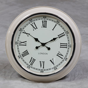"Large 'London' Wall Clock - Cream With White Face 50 cm (19.75"") Diameter - NEW"
