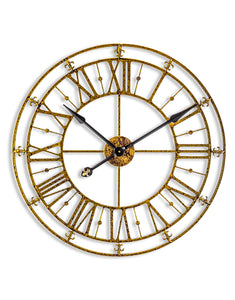 Large Antiqued Gold Metal Skeleton Clock - 76 CM Diameter - NEW