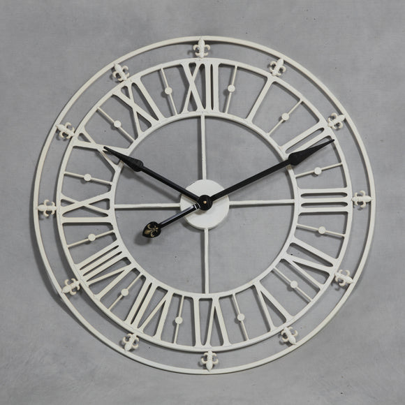 Large Antiqued Cream Metal Skeleton Clock - 76 CM Diameter - NEW