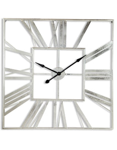Extra Large Silver Metal Square Skeleton Wall Clock 111 cm x 111 cm