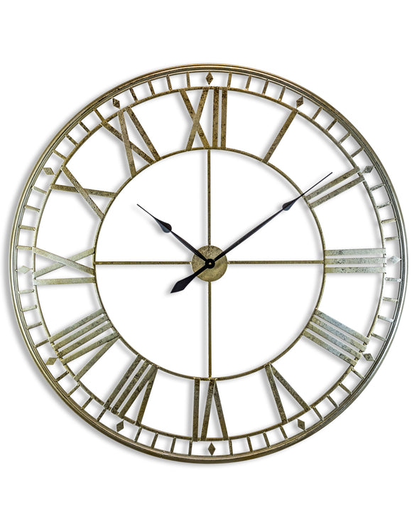 Extra Large Antiqued Silver Metal Round Skeleton Wall Clock 120 cm Diameter NEW