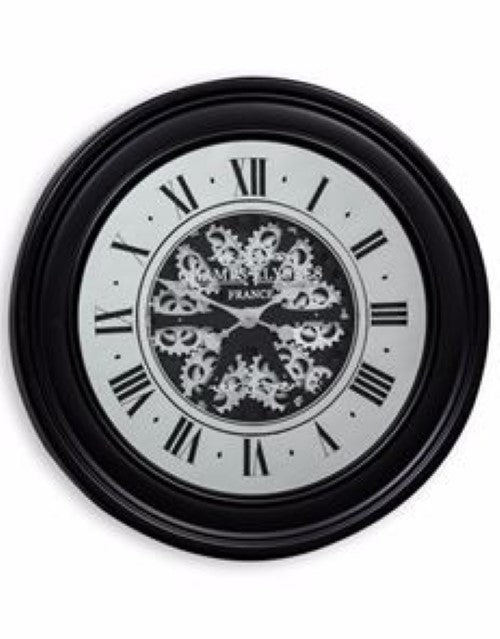 Large Black Moving Gears Clock Mirror Face Silver Cogs 80 cm Diameter Steampunk - Due end of October