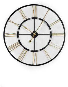 Very Large Black and Antique Gold Metal Skeleton Clock - 102 CM Diameter - NEW