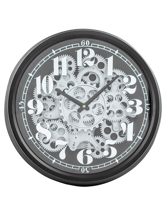 Black & Silver Moving Gears Cogs Clock 39 cm Diameter Steampunk Style