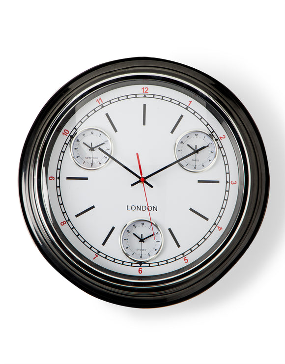 Large Multi Dial Time Zone Wall Clock - Black with White Face and Convex Glass 50 cm Diameter NEW